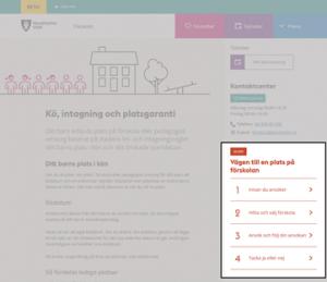 Skärmbild av sida på betawebben, med allt utgråat utom guiden.