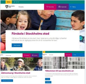 Startsidor på delar av nya webbplatsen.