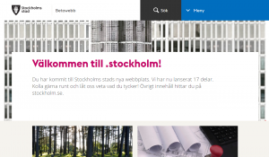 Bild av startsidan med rubriken 'Välkommen till .stockholm!'.